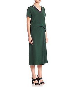 Alberta Ferretti   Draped Waist Silk Midi Dress