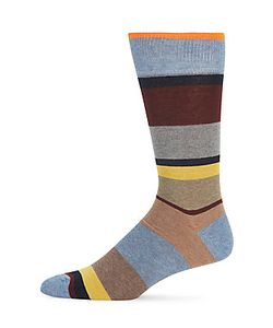 Saks Fifth Avenue | Striped Combed Cotton-Blend Socks