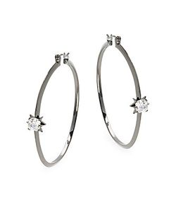Noir | Cz Hoop Earrings2.5in