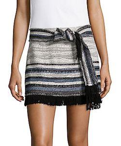 Derek Lam 10 Crosby   Fringed Multi-Stripe Skirt
