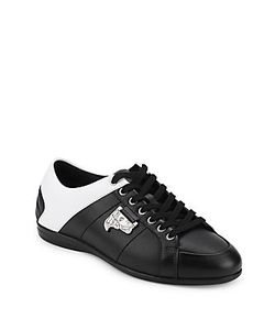 Versace | Leather Lace-Up Sneakers