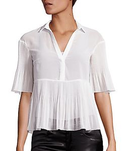 Giamba | Georgette Plisse Short-Sleeve Blouse