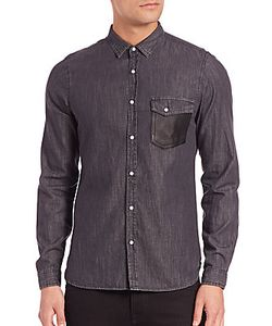 The Kooples | Leather-Trim Denim Shirt