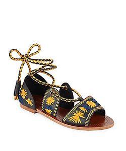 Antik Batik | Flow Embroidered Lace-Up Sandals