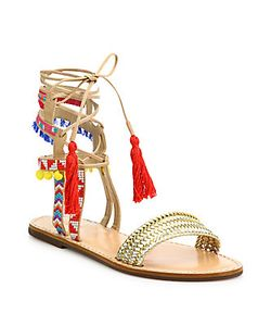 Schutz | Lannister Embroidered Lace-Up Festival Sandals