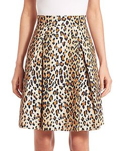 Carolina Herrera | Cheetah-Print Stretch Cotton Skirt