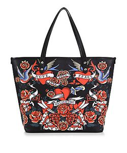Love Moschino | Hearts Flowers Faux Leather Tote