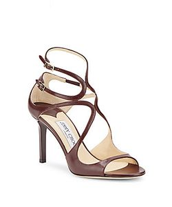 Jimmy Choo | Peep-Toe Leather Stiletto Sandals