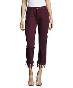 3X1 | Fringed-Cuff Cropped Cotton Pants