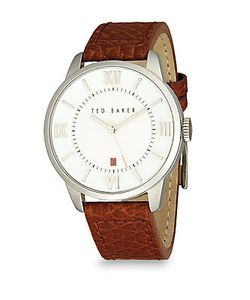 Ted Baker   Stainless Steel Leather Analog Watch