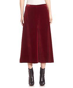 Rosetta Getty | Fluid Stretch Wool Gabardine Velvet Culottes