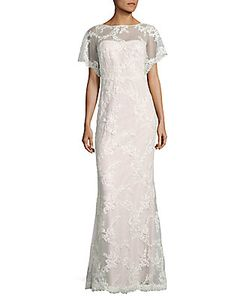 Marchesa Notte | Embroidered Cowlback Gown