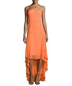 H Halston   Halter High-Low Dress