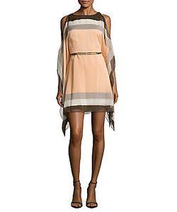 H Halston   Striped Ruffled Sleeve Dress