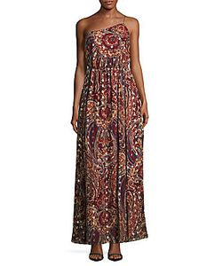 Haute Hippie   Asymmetric Neckline Print Silk-Blend Gown