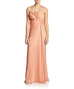 Adrianna Papell | Pleated One-Shoulder Appliqueacute Gown
