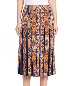 Etro | Medallion Pleated Silk Skirt