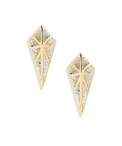 Noir | Cz Geometric Drop Earrings1.10in