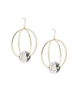 Noir | Orbital Two-Tone Stone Drop Earrings