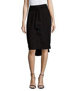 Derek Lam 10 Crosby   Solid Fringed Pencil Skirt