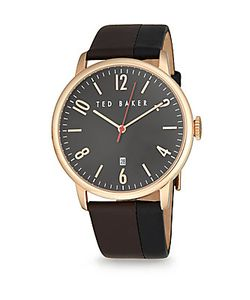 Ted Baker   Two-Tone Stainless Steel Leather Analog Watch
