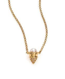 Eddie Borgo | 4mm Mabe Pearl Paveacute Crystal Cone Pendant Necklace