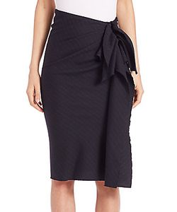 Carolina Herrera | Pinstripe Side-Drape Wool Skirt