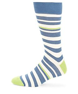 Saks Fifth Avenue Made in Italy | Striped Combed Cotton-Blend Socks
