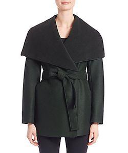 Army Yves Salomon   Virgin Wool And Fleece Wrap Coat