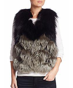 Yves Salomon   Colorblock Fox Fur Leather Silk Vest