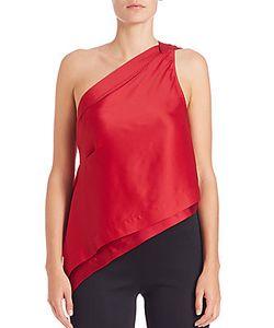 Donna Karan | Satin One-Shoulder Flutter Top