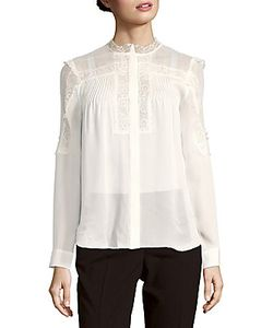 Haute Hippie   Scalloped Neck Silk Lace Shirt