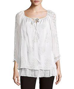 Saks Fifth Avenue | Silk Lace Shoulder Blouse