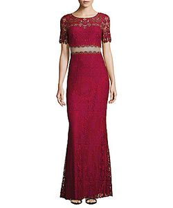 Marchesa Notte | Boatneck Lace Pattern Gown