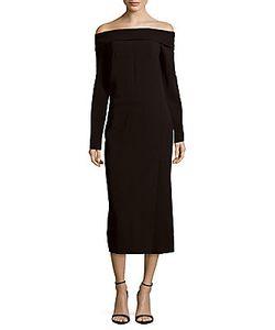 Lanvin | Long Sleeve Off-The-Shoulder Sheath Dress