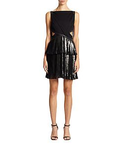 Ohne Titel | Leather-Trim Pleated Cutout Dress