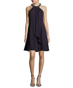 Calvin Klein | Solid Beaded Halterneck Dress