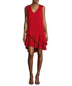 Lanvin | Ruffled V-Neck Shift Dress