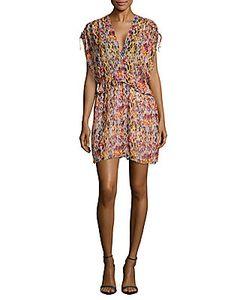 Iro | Printed V-Neck Cap-Sleeve Dress