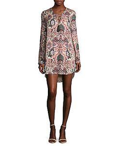 Haute Hippie   Crisscross Neck Long-Sleeve Printed Hi-Lo Dress