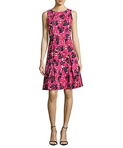 Oscar de la Renta | Jewelneck Print Fit--Flare Dress