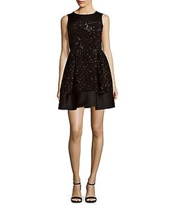Dice Kayek | Sleeveless Beaded Fit--Flare Dress