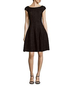 Talbot Runhof | Iridescent Tweed Fit--Flare Dress