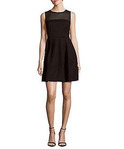 Halston Heritage | Sheer-Yoke A-Line Dress