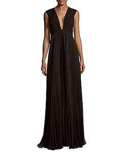 H Halston   Pleated Floor-Length Dress