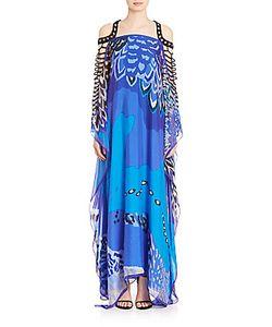Badgley Mischka   Silk Macrameacute Caftan Gown