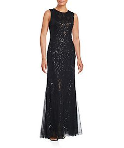 Vera Wang | Sequined-Overlay Trumpet Gown