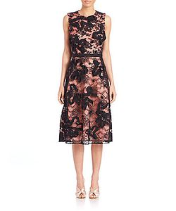 Oscar de la Renta | Sleeveless Lace Embroidered Cocktail Dress
