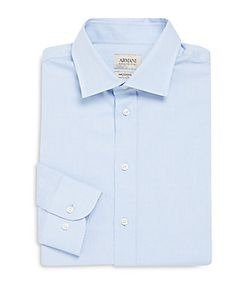 Armani Collezioni | Modern Fit Solid Cotton Dress Shirt