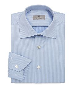 Canali | Modern Fit Mini Chevron Cotton Dress Shirt